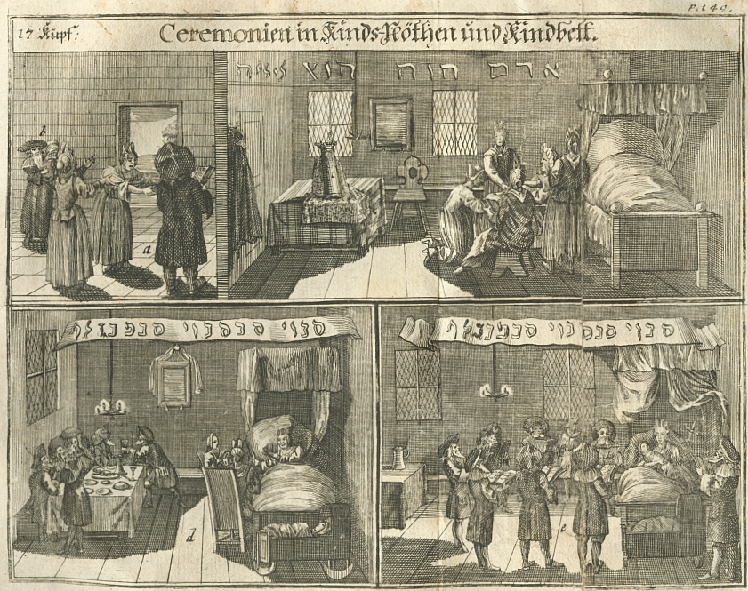Engraving depicts the first week in the life of a new Jewish male baby in early 18th century Germany in three panels
