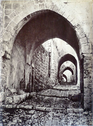 <em>Tancrede Dumas</em>, Arched Street in Jerusalem (photograph, 1870), Lenkin Family Collection of Photographs, Penn Libraries