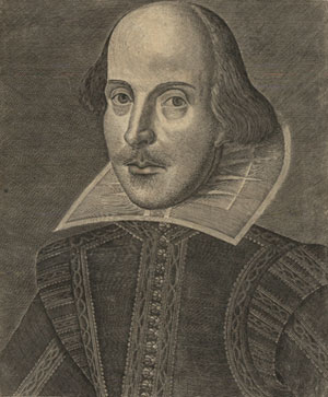 Frontispiece engraving of William Shakespeare from the First Folio, Kislak Center for Special Collections, Rare Books and Manuscripts