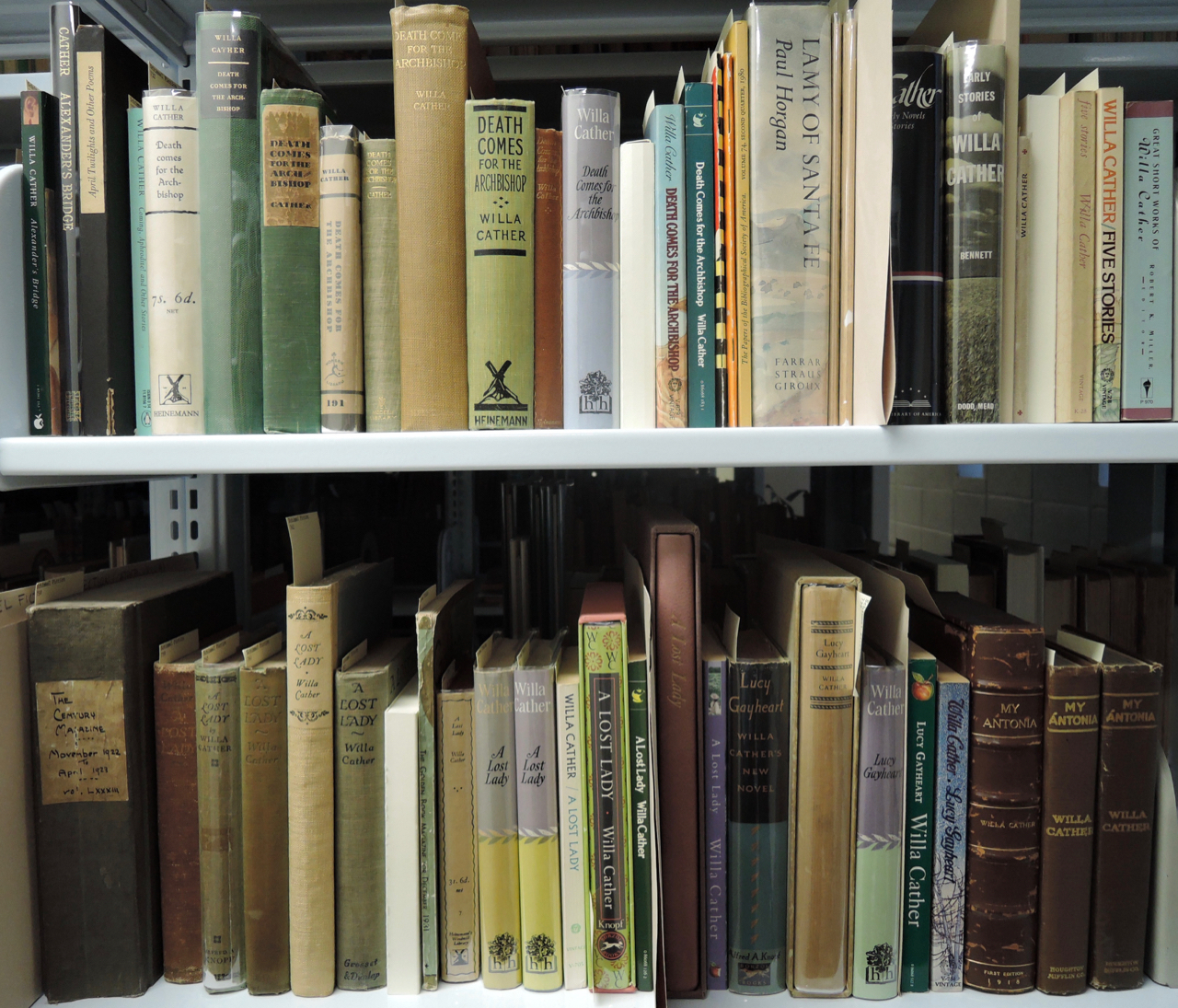 A selection of works by Willa Cather on shelves in the Schimmel Collection