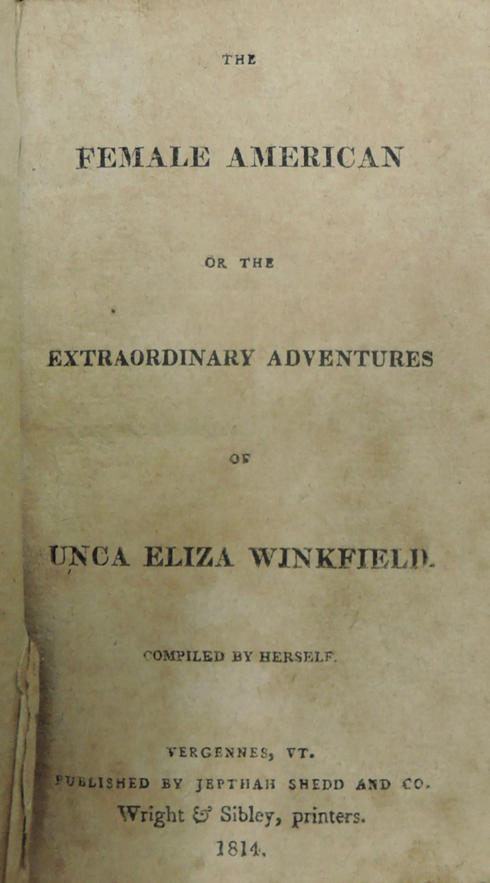 Unca Eliza Winkfield, Female American (Vermont 1814), Schimmel Fiction 4974