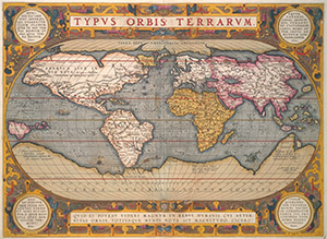 Hand-colored map, from Abraham Ortelius, Typus Orbis Terrarum (ca. 1600), Kislak Center