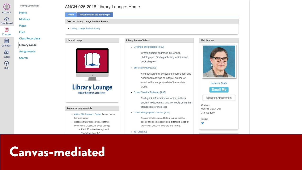 Canvas-mediated - Library Lounge page embedded in Canvas