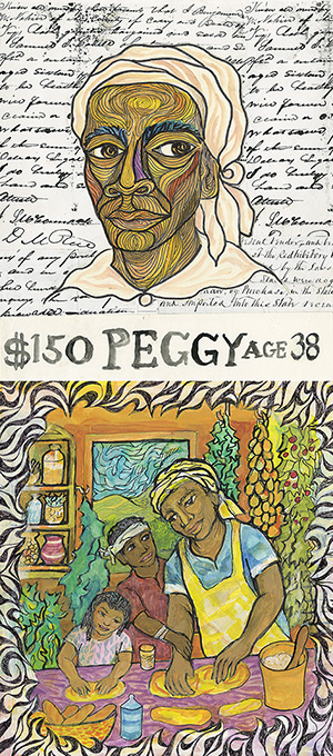 "Ashley Bryan, ""Peggy"" and ""Peggy's Dream"" illustrations from Feedom Over Me (Simon & Schuster, 2016)"
