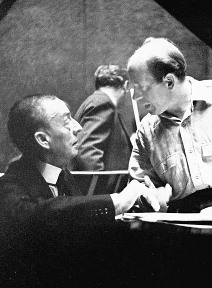 Sergei Rachmaninoff at piano and Eugene Ormandy. Photo courtesy of the Adrian Siegel Collection/Philadelphia Orchestra Archives