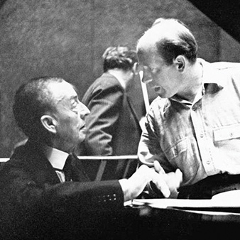 Segei Rachmaninoff at piano and Eugene Ormandy. Photo courtesy of the Adrian Siegel Collection/Philadelphia Orchestra Archives