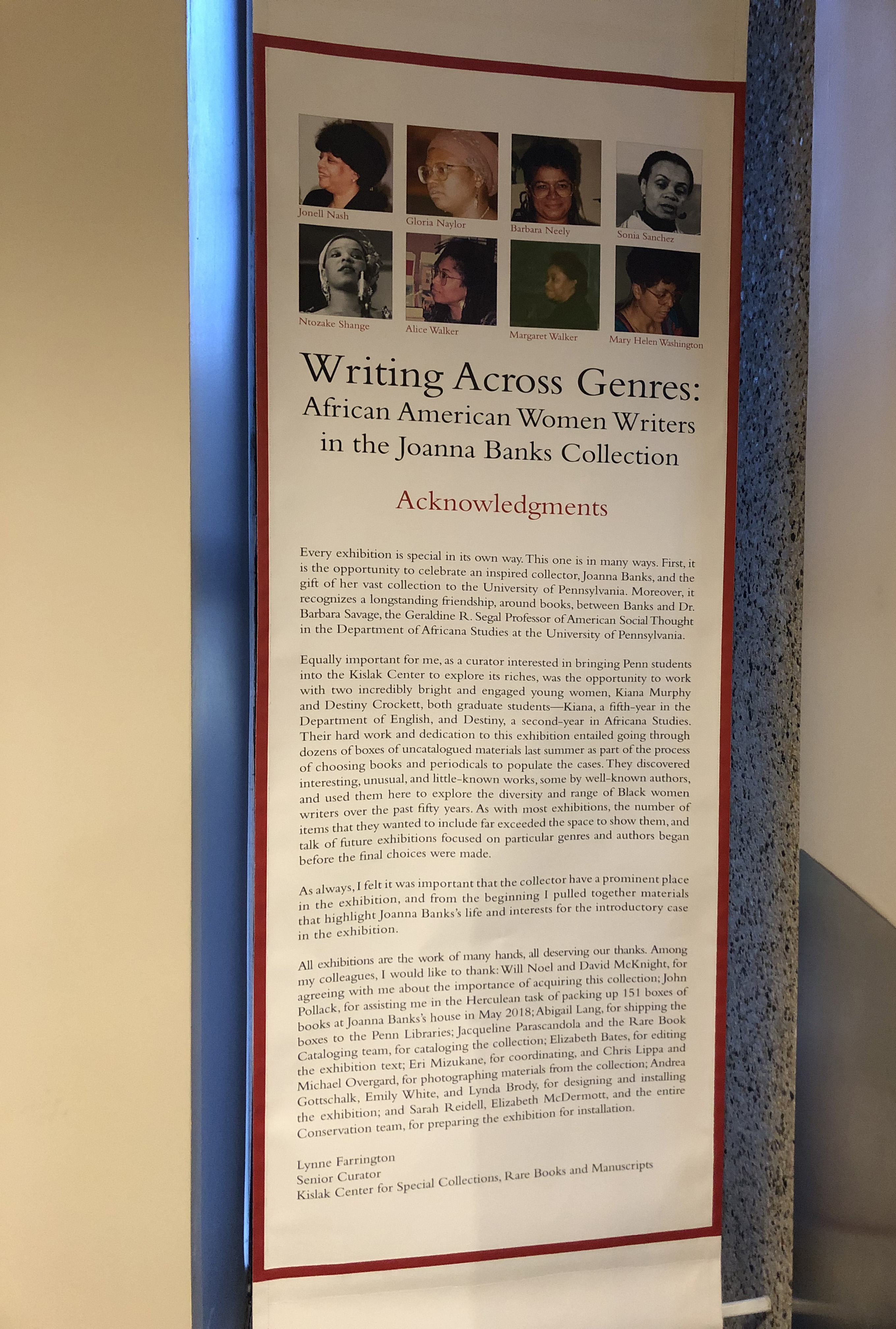 Writing Across Genres Acknowledgements