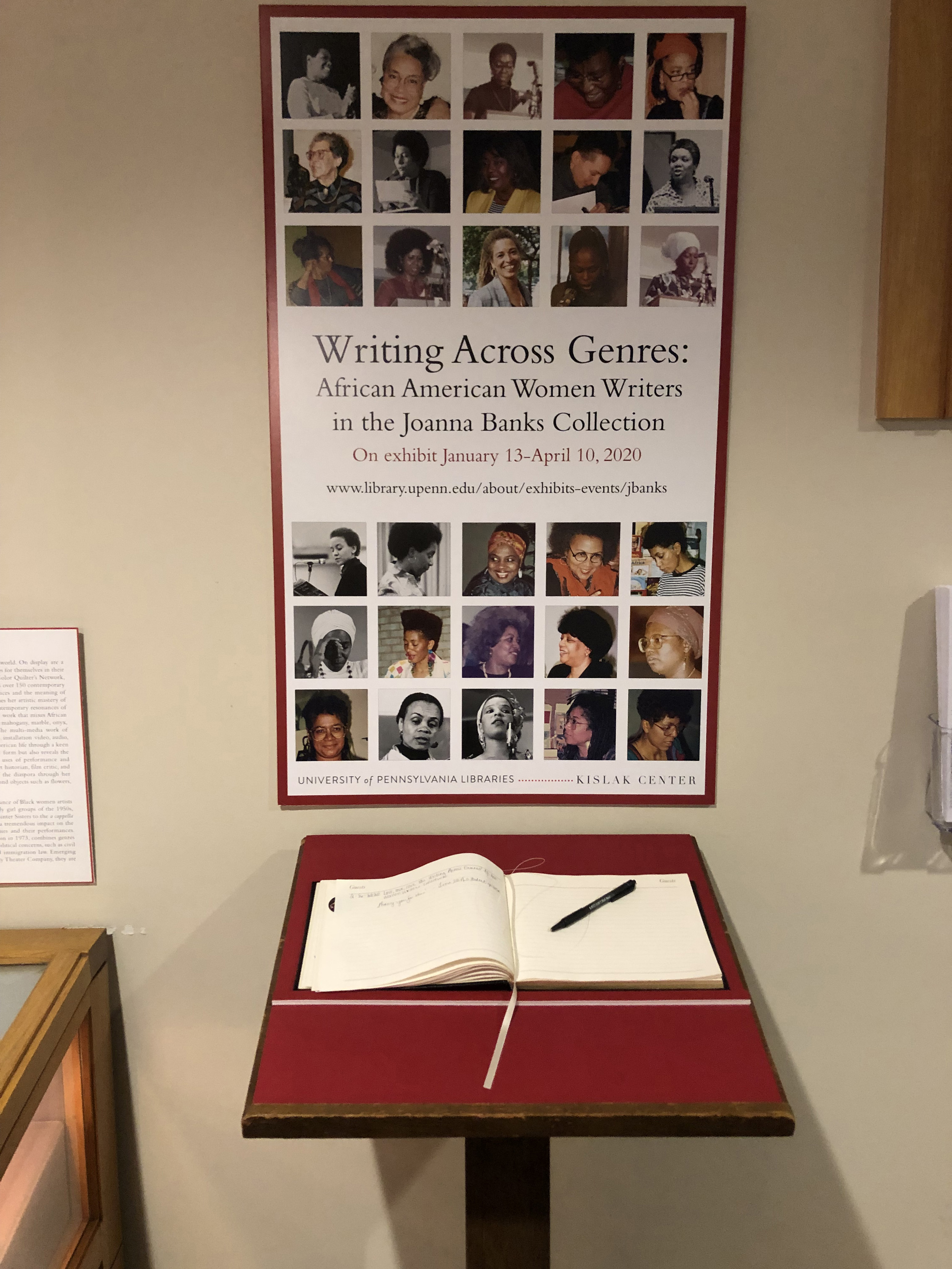 Writing Across Genres poster and guestbook