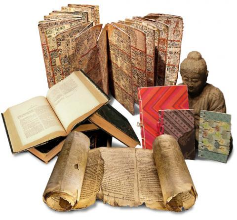 Assembly of a variety of material texts including a sculpture.