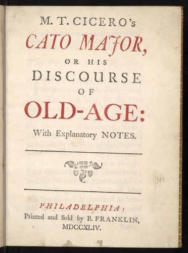 text only paper interior cover page of M.T. Cicero's Cato Major, or his Discourse of old-age