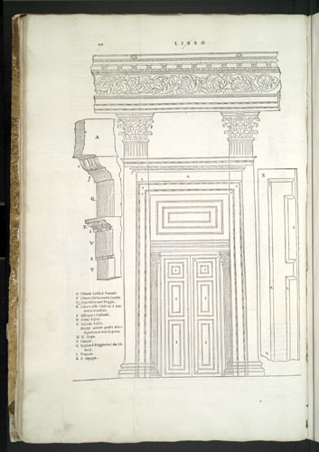 illustration detailing the architectural dimension and structure of greco-roman columns, doors, and archs