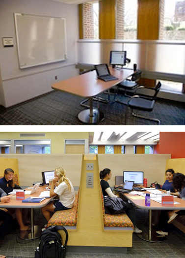 Study room above, booth below