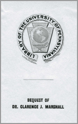 Clarence J. Marshall Memorial Library Fund Bookplate