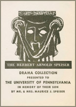 Herbert Arnold Speiser Fund bookplate