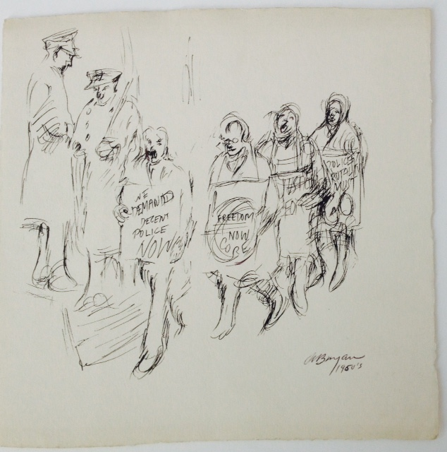 Ashley Bryan, Protest drawing no.3, pen and ink on paper, The Bronx, 1960s