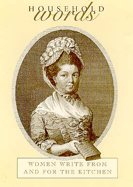 illustrated sepia tone cover of Household Words book depicting a woman in period dress and bonnet holding a book