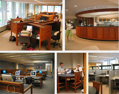 Five photographs of the Goldstein Undergraduate Study Center