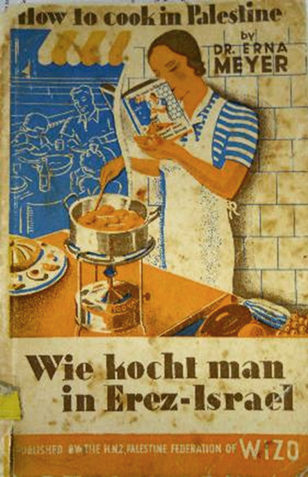 full color illustrated book cover depicting a woman preparing food reading from a book with this scene as its cover