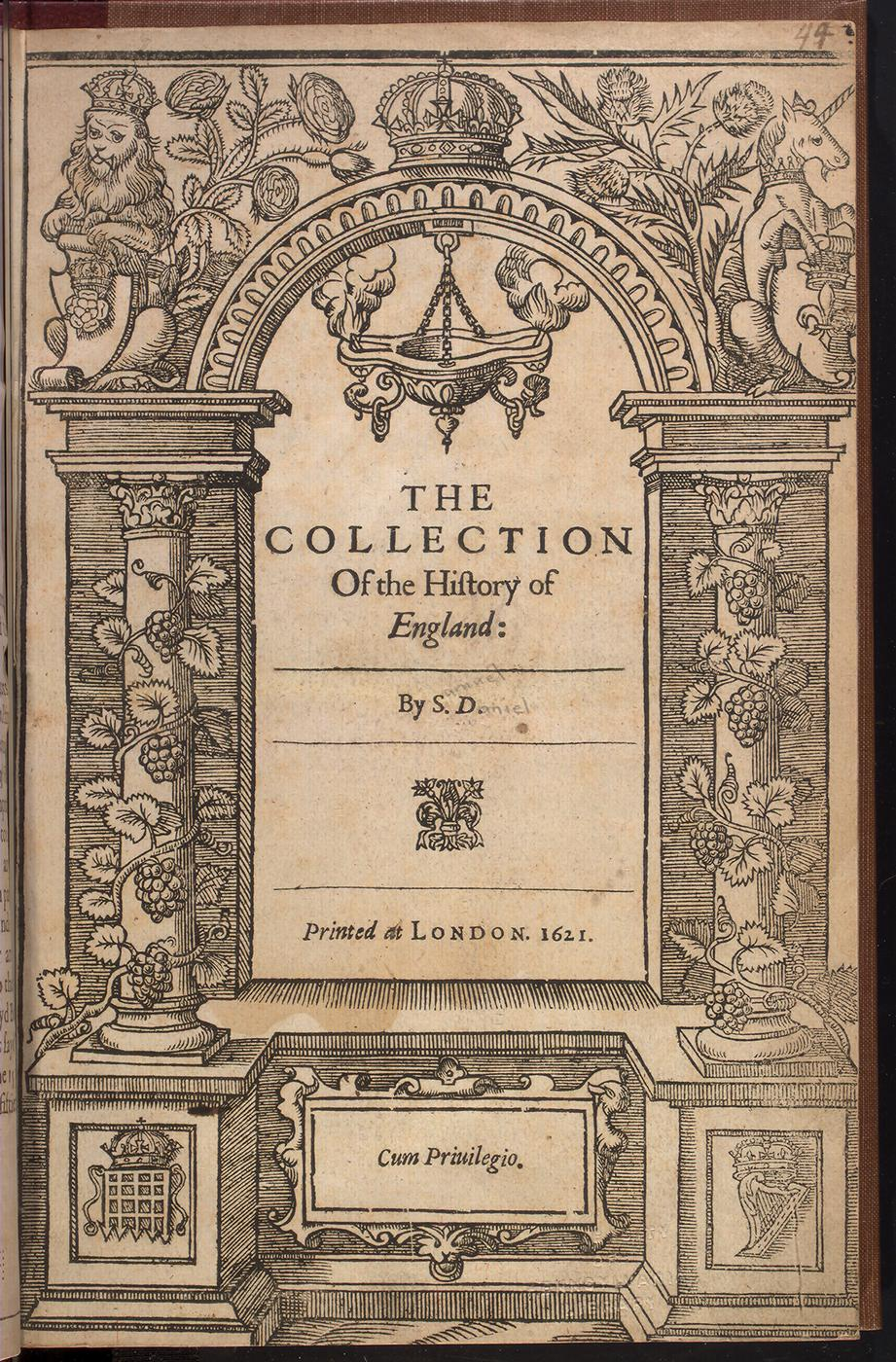 Title page to Samuel Daniel, The Collection of the History of England (London 1621)