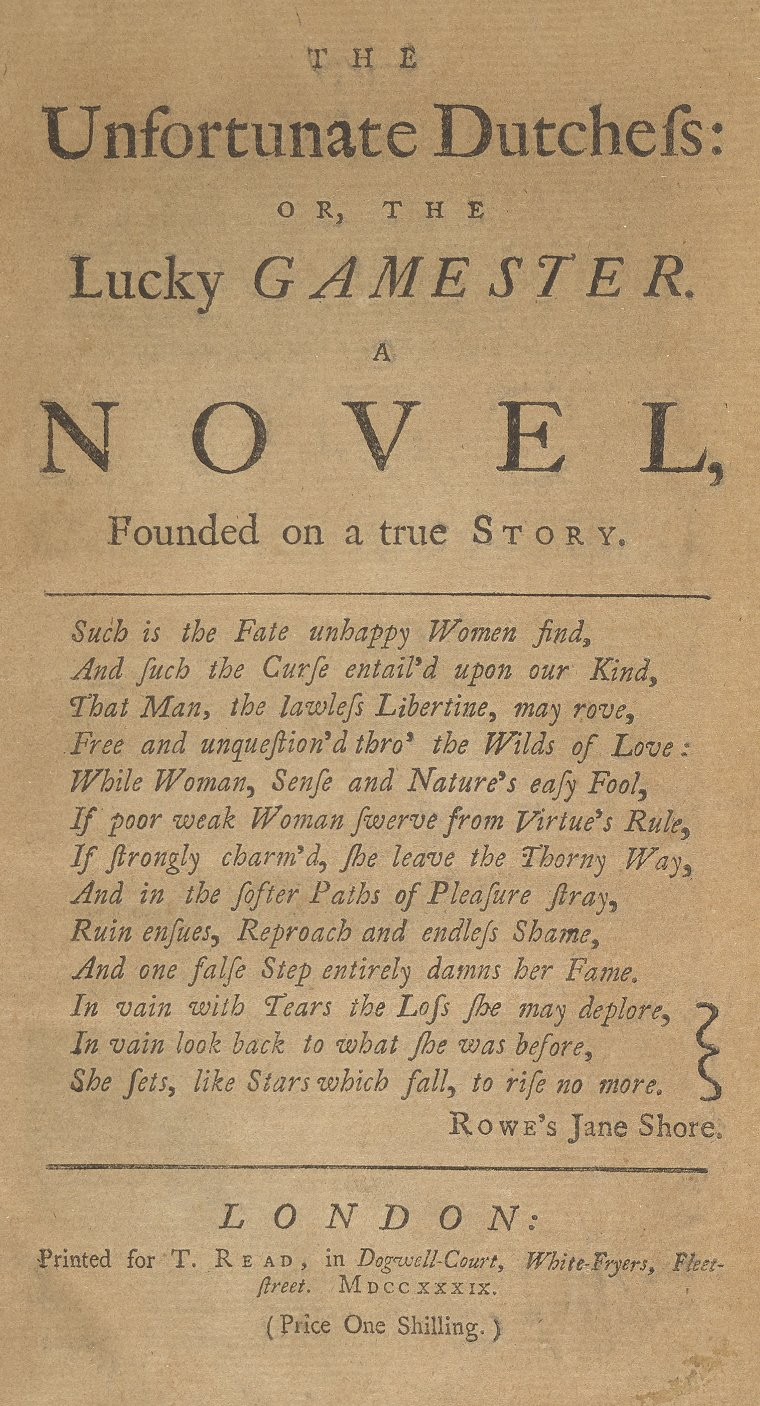 Title page for The Unfortunate Dutchess (1739)