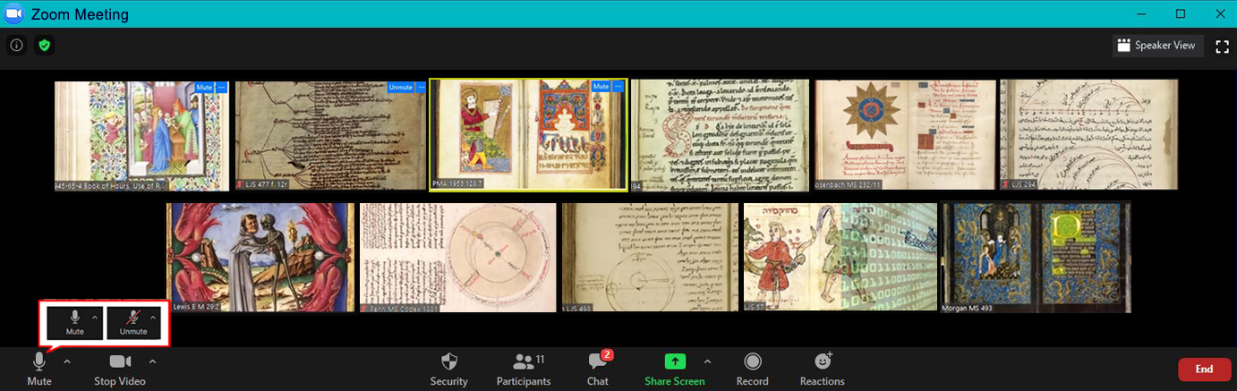 Medieval manuscripts: 11 openings. The arrangement immitates a gallery of participants at a Zoom conference