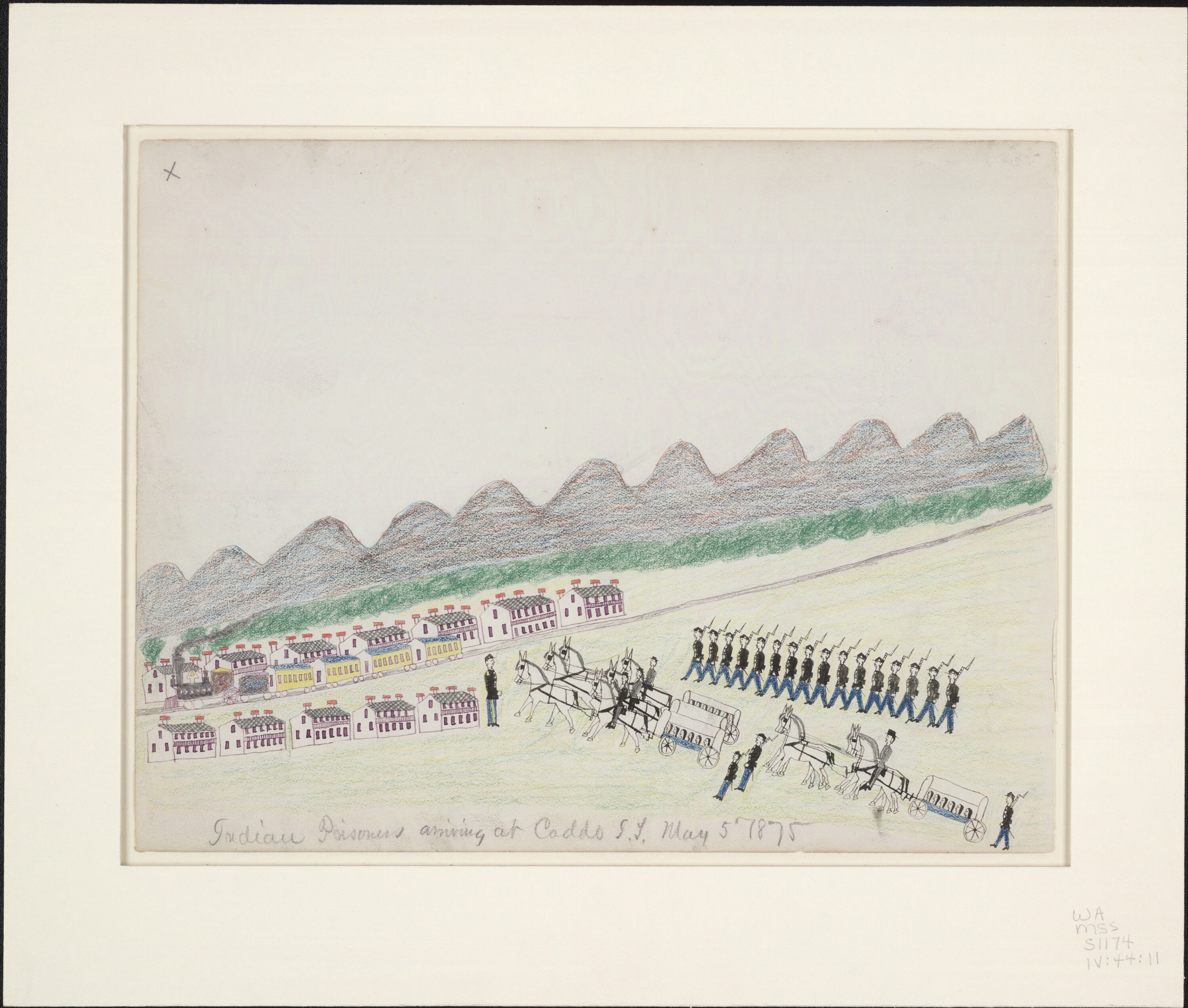 Color pencil drawing of Indian prisoners arriving at Caddo, by Etahdleuh Doanmoe, Beineke Library WA MSS S-1174
