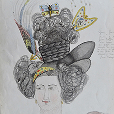 French woman's coiffure, from Ouvrages en cheveux idéal (manuscript 1878)