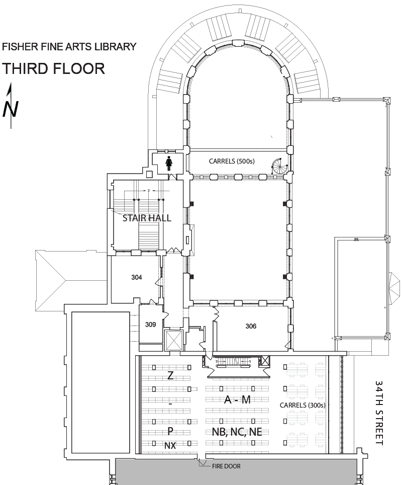 Fine Arts Library third floor plan