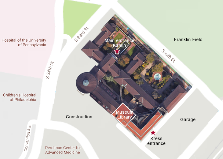 Detail of campus map showing the Kress entrance for getting to the Museum Library. The entrance is off the Museum's loading dock. While much of the Penn Campus is oriented on north-south, east-west axes, the Museum and Franklin Field face northeast. The Museum is adjacent to and southwest of Franklin field.