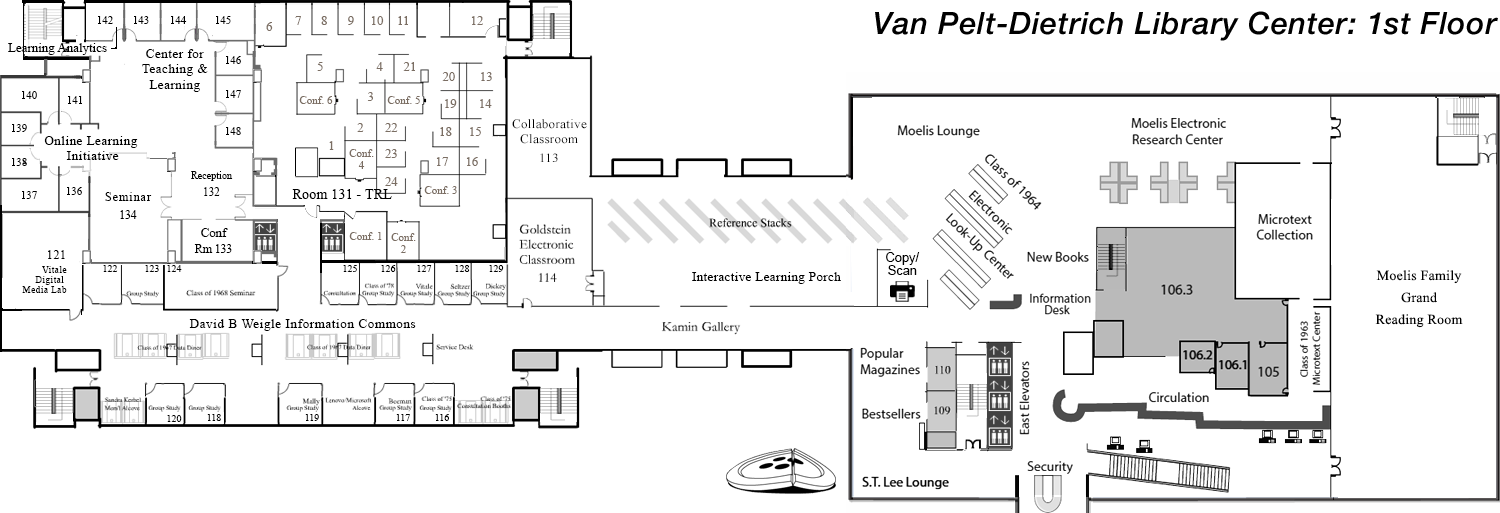 Van Pelt-Dietrich Library Center, first floor plan
