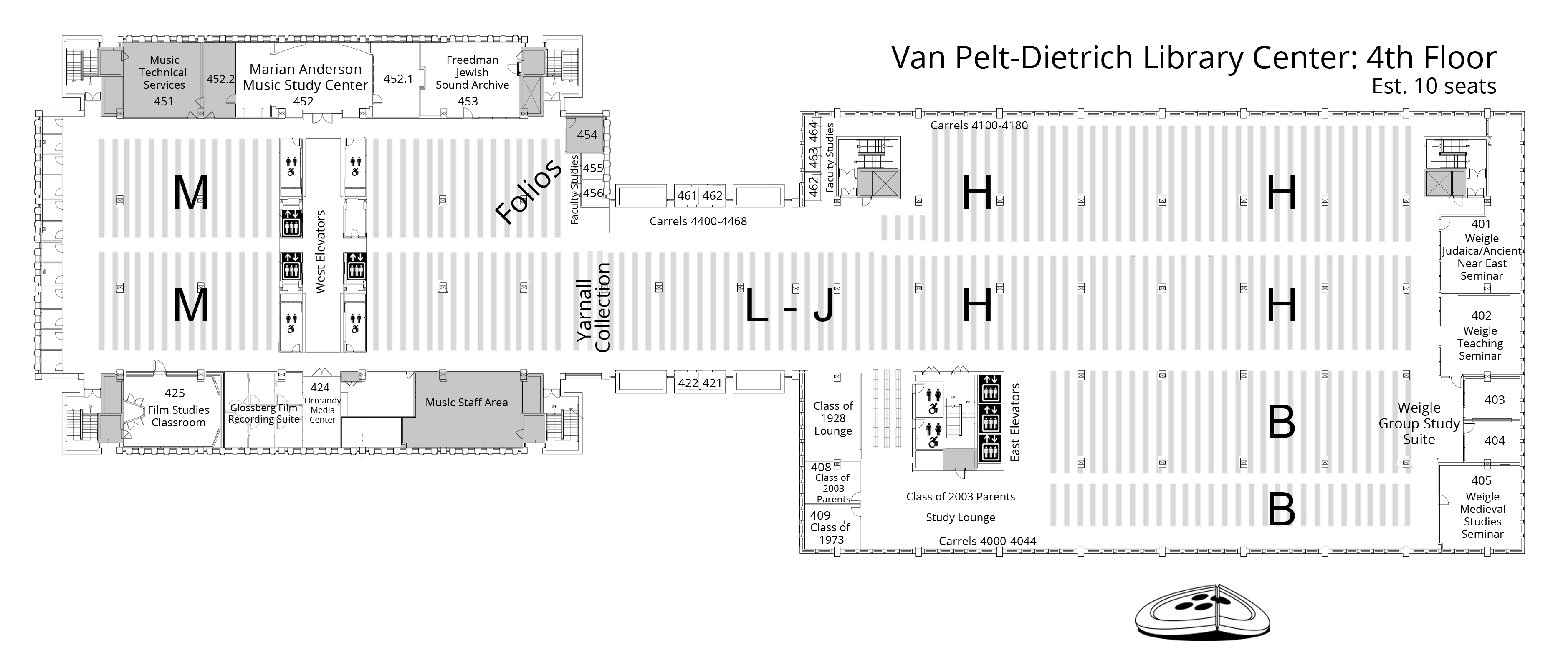 Van Pelt-Dietrich Library Center, fourth floor plan