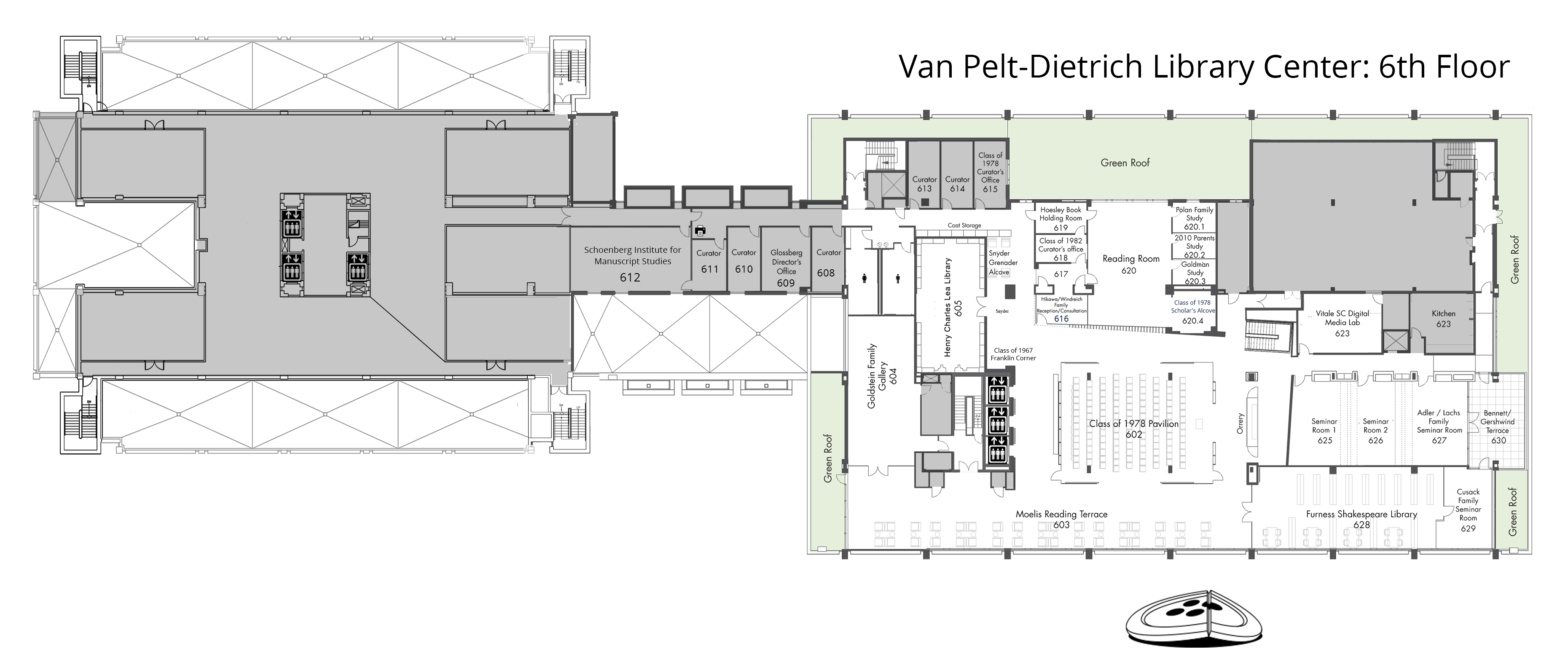 Van Pelt-Dietrich Library Center, sixth floor plan