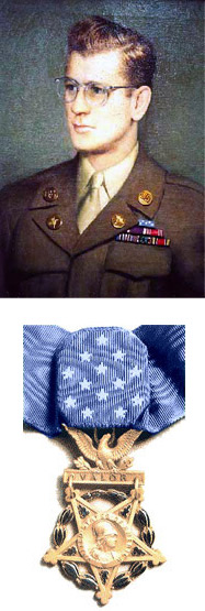 Above: Portrait of Pfc. Frederick C. Murphy. Below: His Congressional Medal of Honor