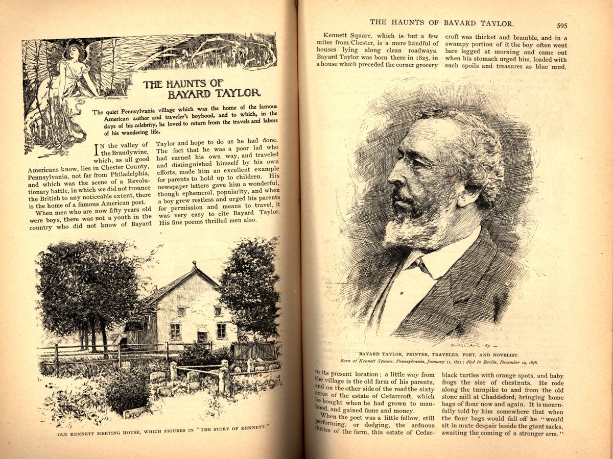 magazine interior of The Haunts of Bayard Taylor featuring illustraitons of a farm and a man in profile