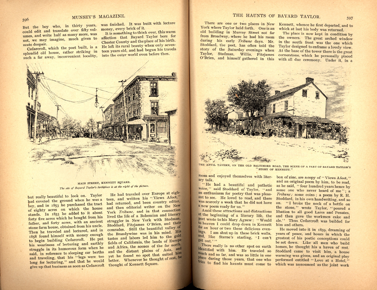 magazine interior featuring illustrations of a main street and house