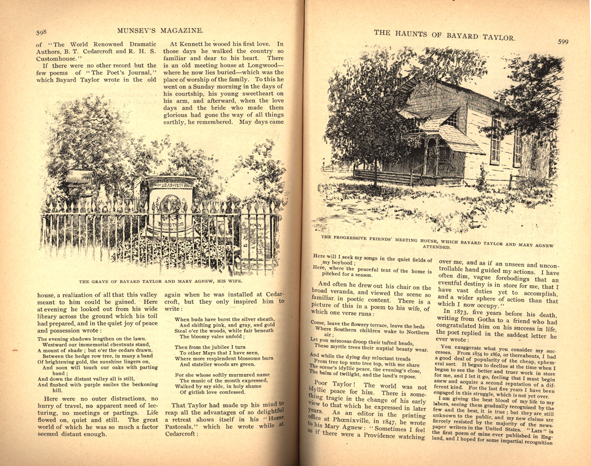 magazine interior featuring illustrations of a graveyard and a house
