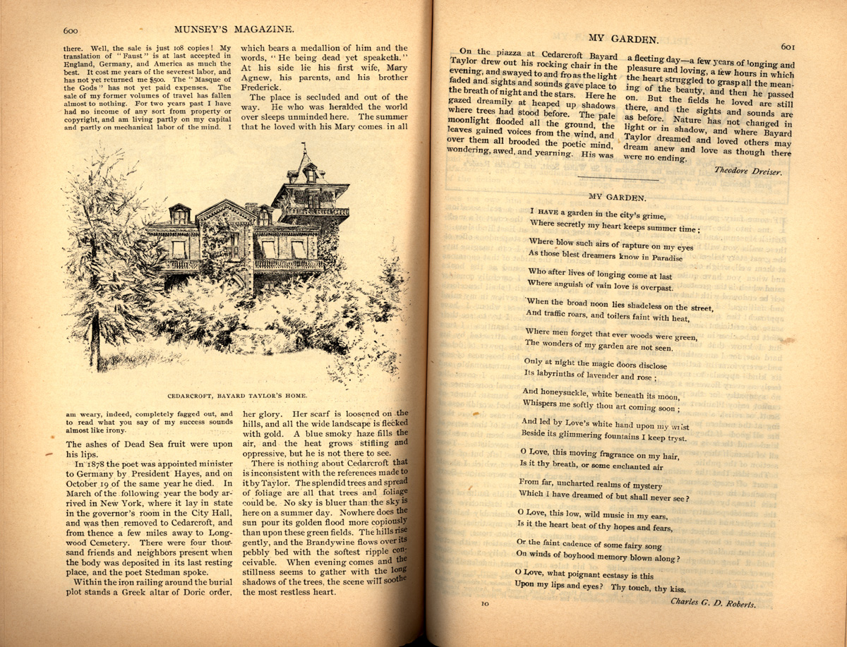 magazine interior featuring illustrations of a house and a poem