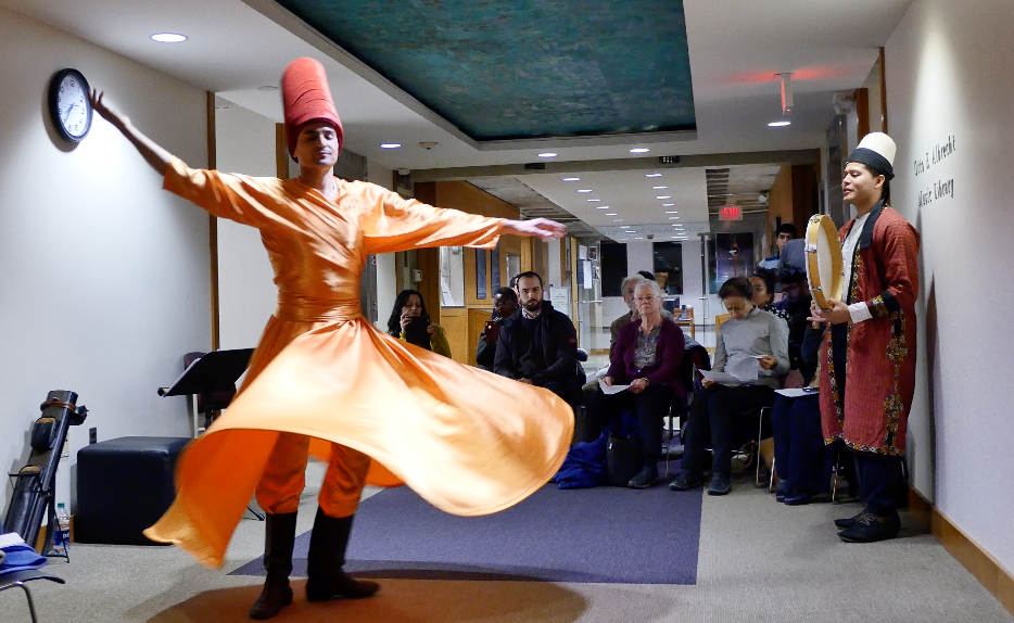 Ibrahim Miari, Sufi dancer, and Juan Castrillón, Neyzen, performing in the Music Library.