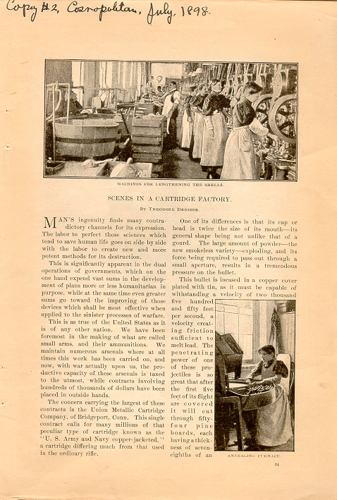 magazine interior page featuring black and white photos of women at work in a cartridge factory