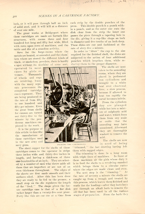 magazine interior page featuring a black and white photo of women at work in a cartridge factory