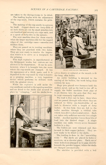 magazine interior page featuring a black and white photo of people at work in a cartridge factory