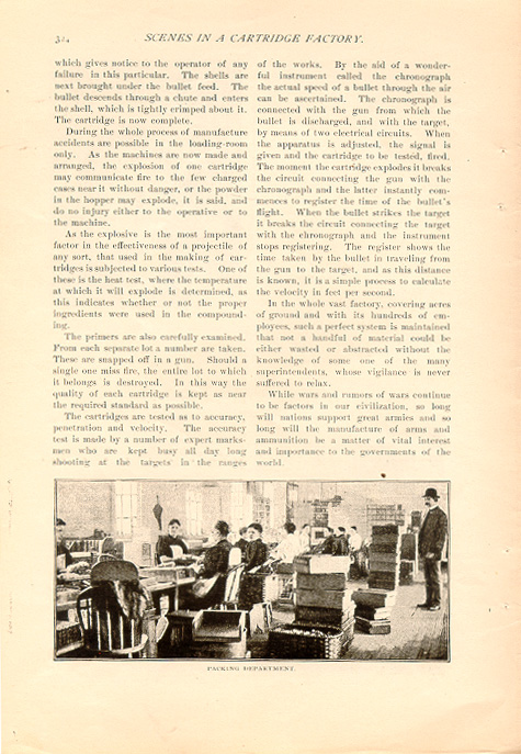 magazine interior page featuring a black and white photo of men at work in a cartridge factory
