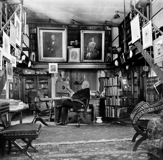 H. H. Furness at home in his library