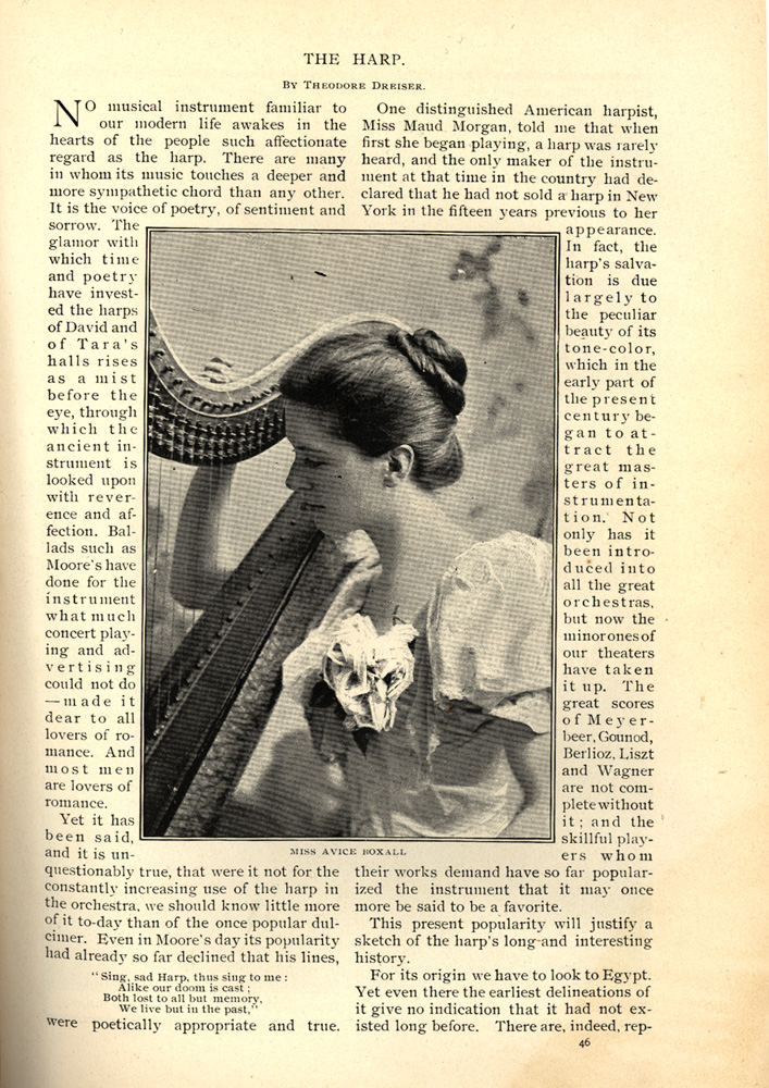 magazine interior page featuring a photo of a woman playing the harp