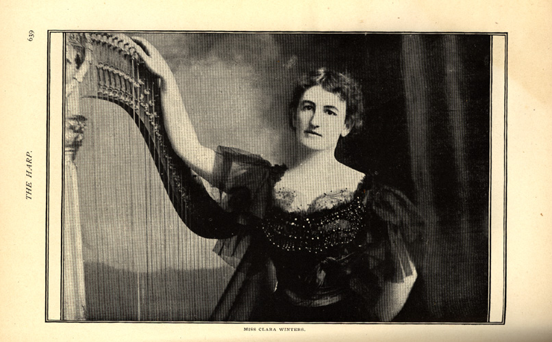 photo of Miss Clara Winters with her harp