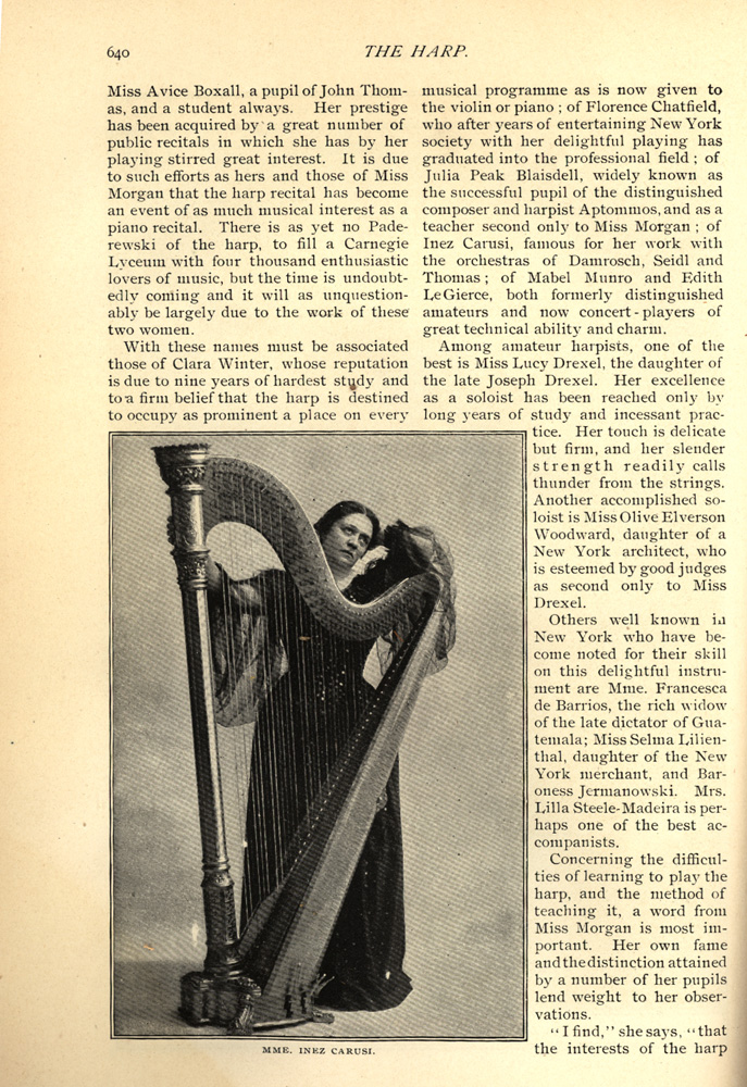 full body photo of Inez Carusi standing with her harp