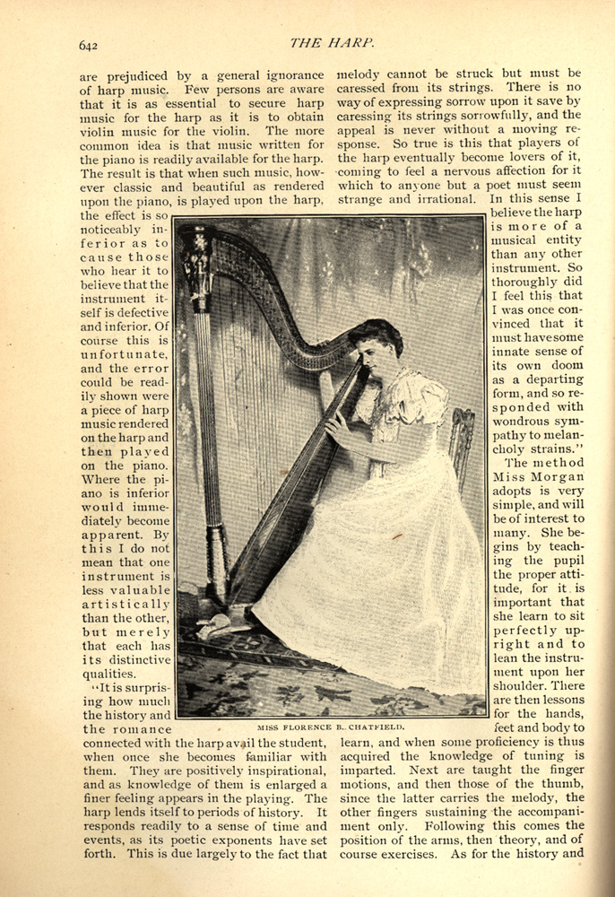 magazine interior page featuring a black and white photo of Miss Florence B. Chatield