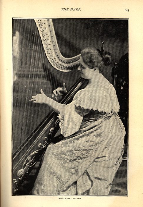 magazine interior page featuring a black and white photo of Miss Mabel Munro with her harp
