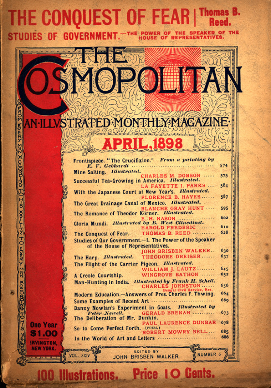 The Cosmopolitan Cover featuring a table of contents but no illustrations