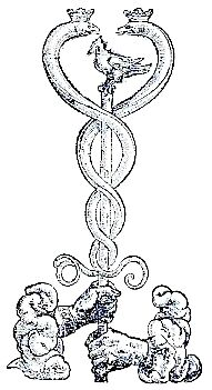 Unidentified drawing (possibly a colophon) showing a caduceus supported by 2 hands.